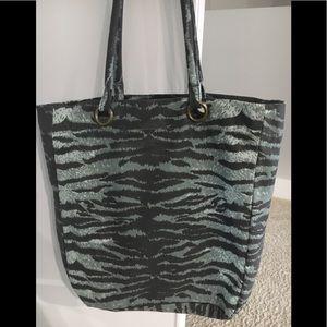 Tiger print large canvas tote bag